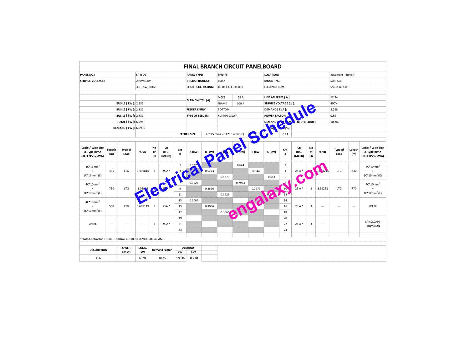 Electrical Panel Schedule - engalaxy.com